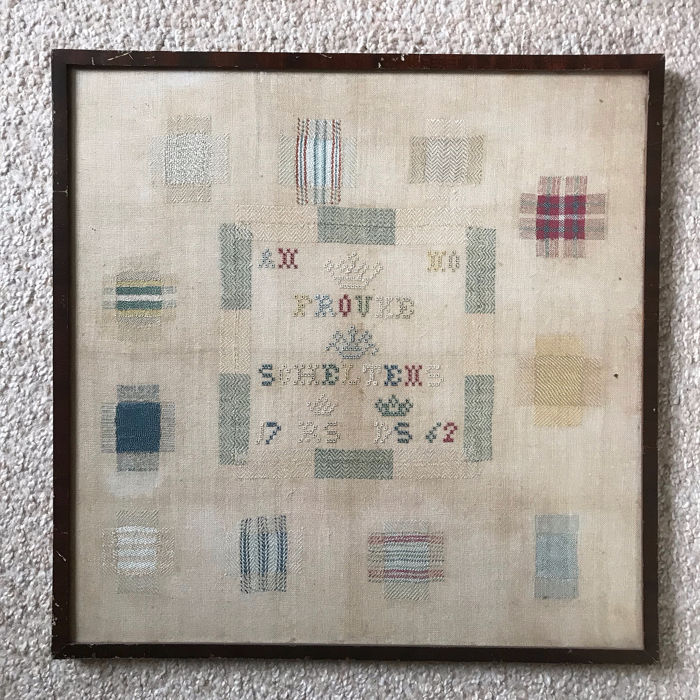 Embroidery, Merklap or Needle Sampler - Cotton, Textiles - dated 1752