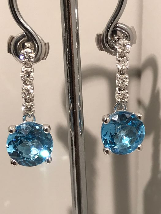 18 carats Or blanc - Boucles d'oreilles Topaze - Diamants
