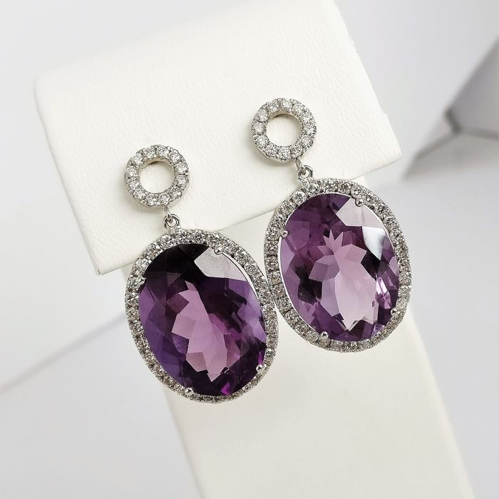 18 kt. White gold - Earrings - 22.29 ct Amethyst - Diamonds