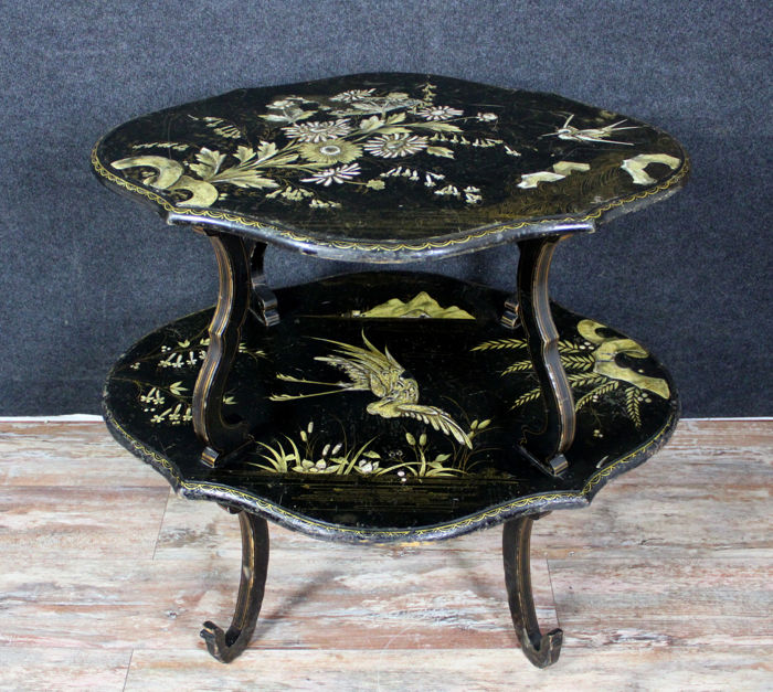 Japanese pedestal double tray Napoleon III - Napoleon III - Black pear and lacquer - mid 19th century