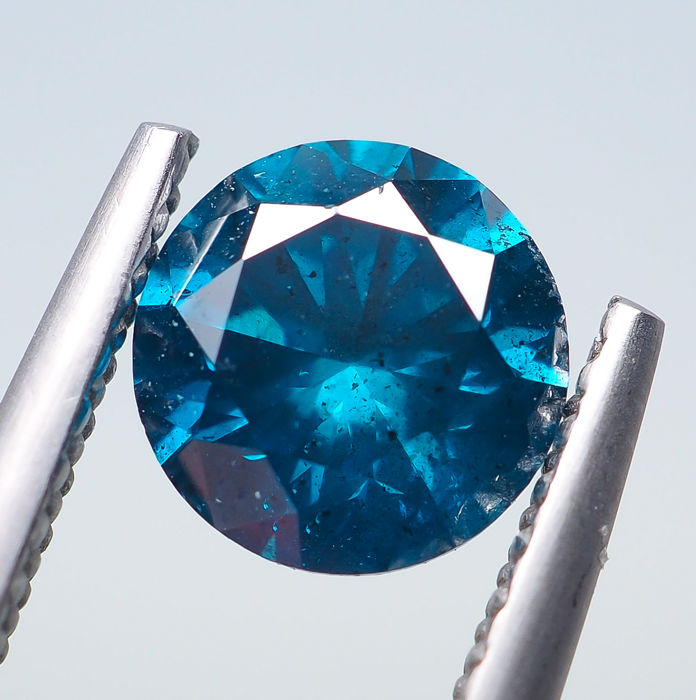 Diamant - 0.98 ct - Fancy INTENSE Blue - I2 *NO RESERVE*