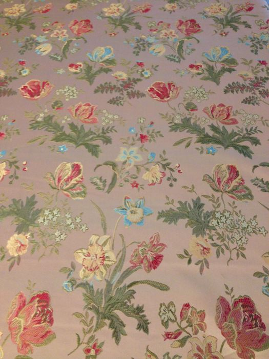 2.9x2.8mt san leucio fabric with pink base with floral decorations - Louis XVI Style - cotton blend - Second half 20th century
