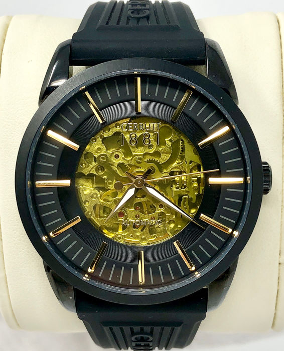 Cerruti 1881 - Automatic Skeleton Yellow Dial Black Silicone Band  - CRA113SB02BK - Heren - 2011-heden