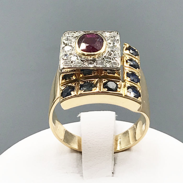18 kt. Gold - Ring - 0.30 ct - Ruby, Sapphire
