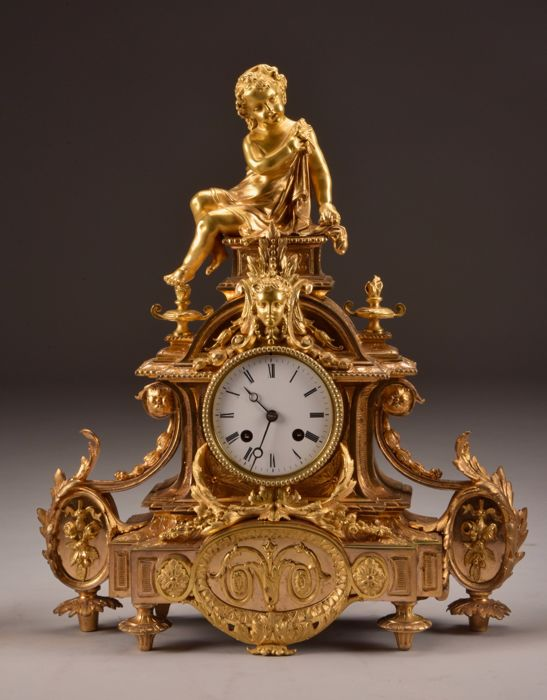 Mantel clock - with putto - Japy Frères - Verguld brons - Midden 19e eeuw