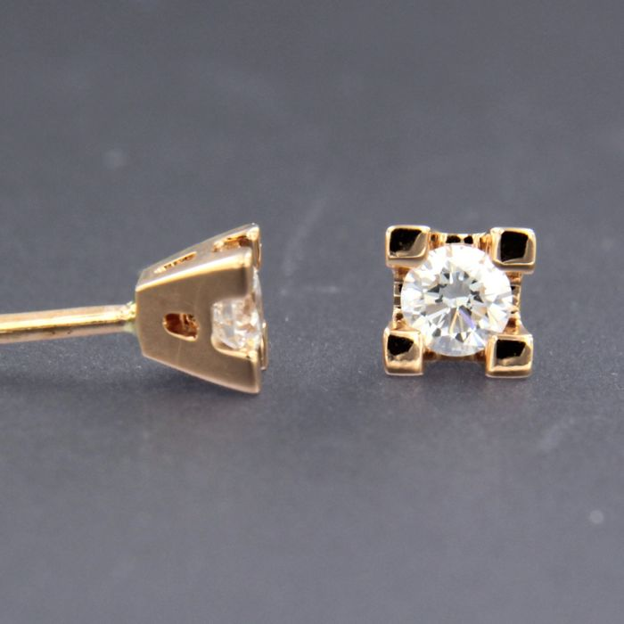 18 quilates Oro rosa - Pendientes - 0.24 ct Diamante