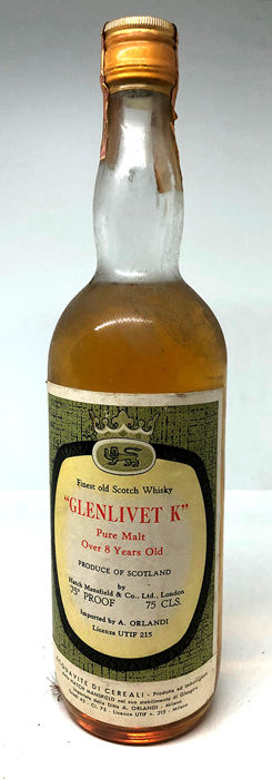 Glenlivet ''K'' Pure Malt Over 8 years old - Hatch Mansfield - b. 1960/70s - 75cl
