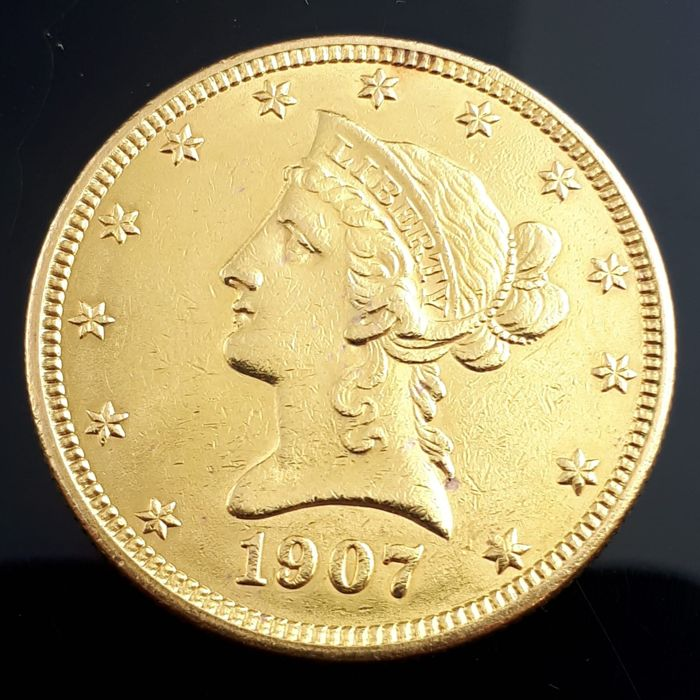 "United States - 10 Dollar 1907 ""Coronet Head - Eagle""  - Gold"