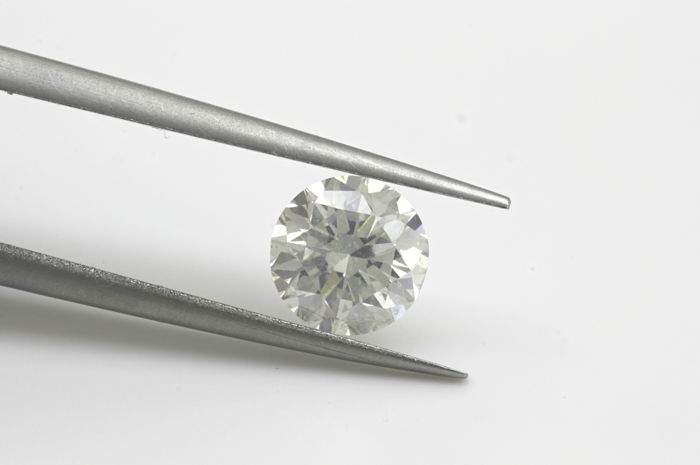 Diamante - 0.96 ct - Brillante, Rotondo - F - SI1