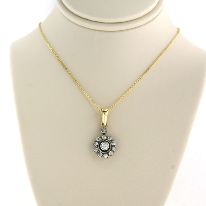 14 kt yellow necklace, pendant 14 kt gold with Z2 silver Yellow gold, Silver - Necklace with pendant - 0.70 ct Diamond