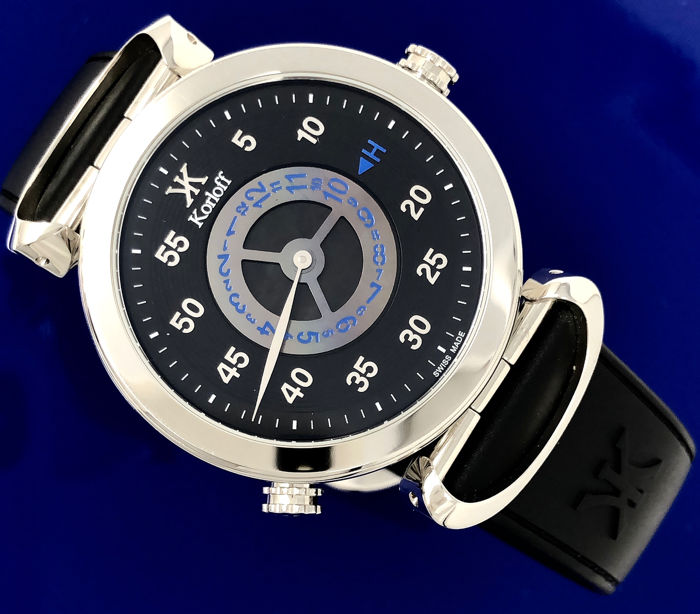 Korloff - Reversible Watch Blue or Silver - MT3ZB - Unisex - BRAND NEW
