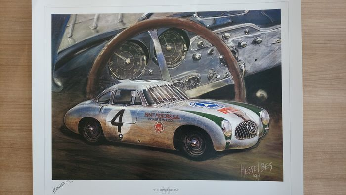 Lithography Mercedes 300 SL Carrera Panamericana 1952 signed and limited