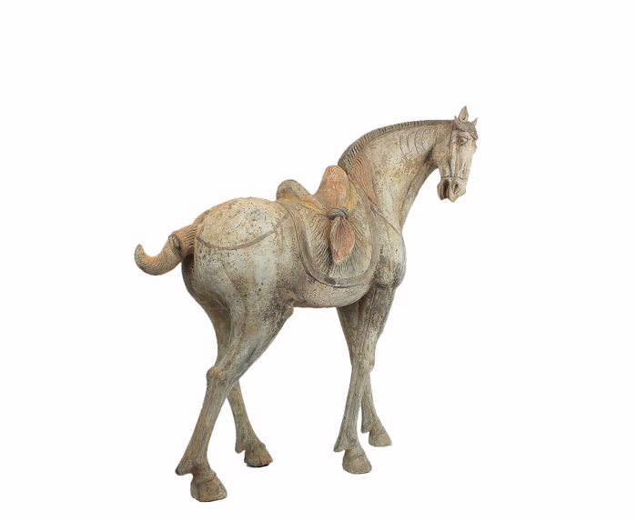 Een meesterwerk, Mingqi - Terracotta - A Large and Superb Grey Pottery Figure of a Saddled Horse, TL test - China - Tang Dynasty (618-907)