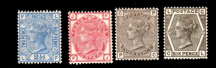 Grande Bretagne 1880/1883 - Some values - Stanley Gibbons NN. 157 - 158 - 160 - 161