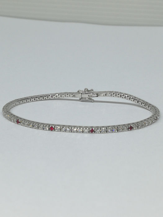 18 kt. White gold - Bracelet - 1.98 ct Diamond - Rubys