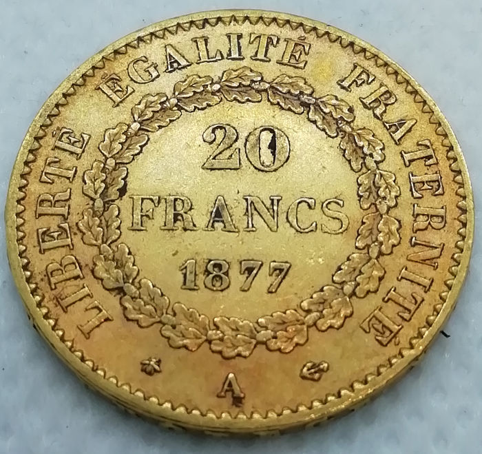 20 Francs 1877-A Genius - Or