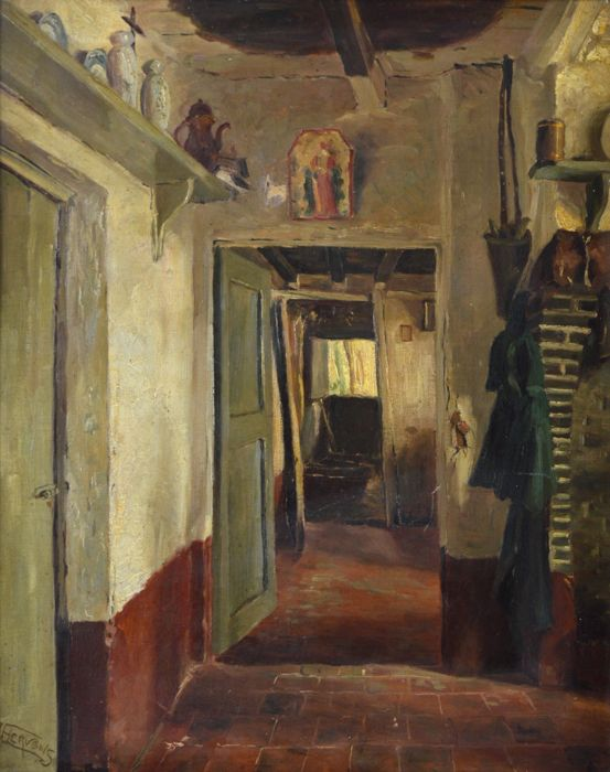 Jacques Hervens. (1890-1928) - Interior scene - An open doorway