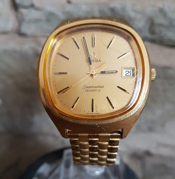 """Omega - Seamaster - Gold Plated -Tv Screen - """"NO RESERVE PRICE"""" - 196.0073 - Unisex - 1970-1979"""