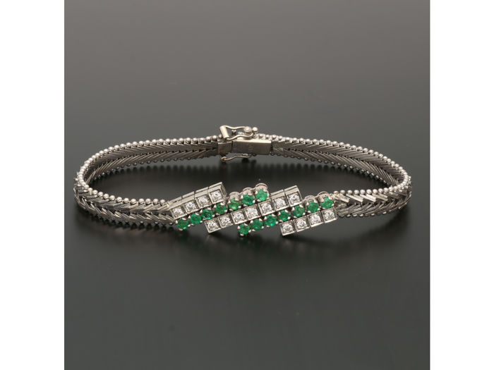 14 kt. White gold - Bracelet Emerald - Diamond