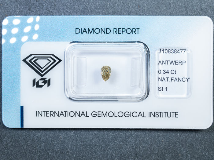 Diamant - 0.34 ct - Peer - fancy yellow brown - SI1
