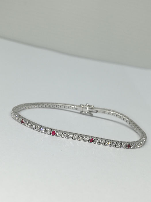 18 quilates Oro blanco - Brazalete - 1.98 ct Diamante - Rubíes