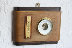 Amsterdamse school barometer / thermometer - 藝術裝飾 - Hout en messing