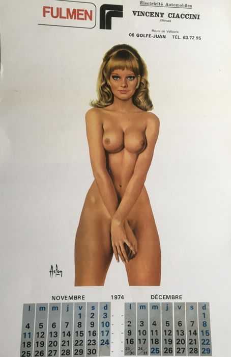 Aslan - Fulmen pin-up calendrier - 1974