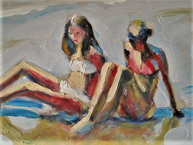 """Roland LEFRANC (1931-2000) - """"Young ladies on a sunny beach"""""""