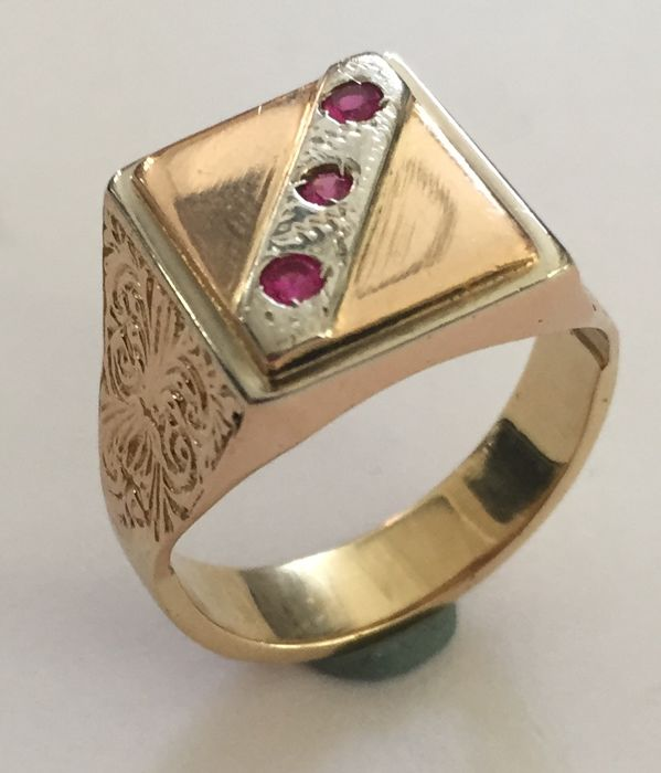14 kt. Pink gold, White gold, Yellow gold - Ring Ruby - Ruby