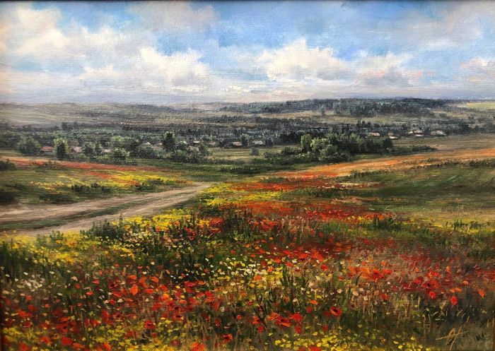 Olga Odalchuk (1965-) - Poppies blooming on the outskirts of village in the Balta city