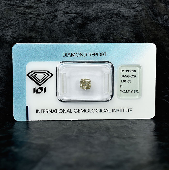Diamond - 1.01 ct - Cushion - Y-Z,Light Yellowish Brown - I1 - NO RESERVE PRICE
