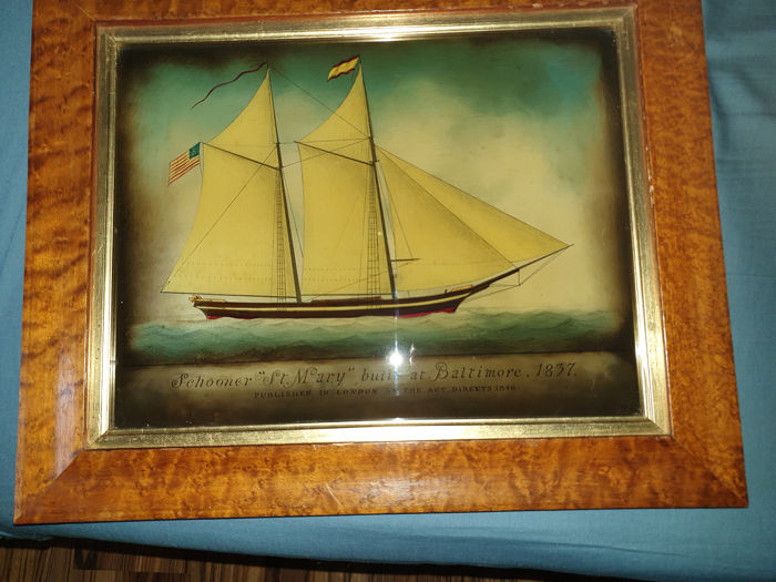 Reverse Glass  Marine Mezzotint with Birdseye veneer Frame  (2) - Glass - 20th century