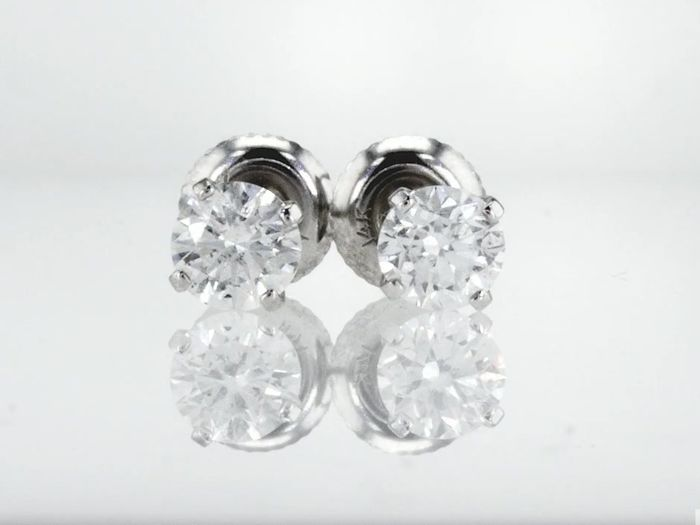 14 quilates Oro blanco - Pendientes - 1.00 ct Diamante