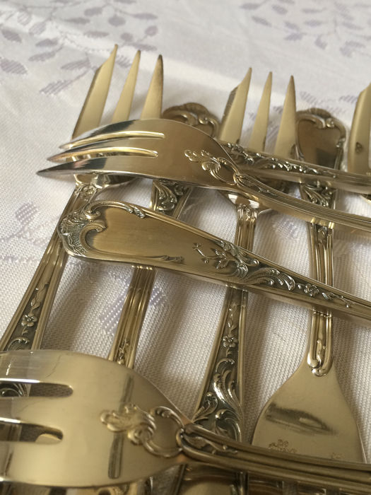Ercuis - Dessert Forks Louis XV style (12) - Silverplate - France - mid 20th century