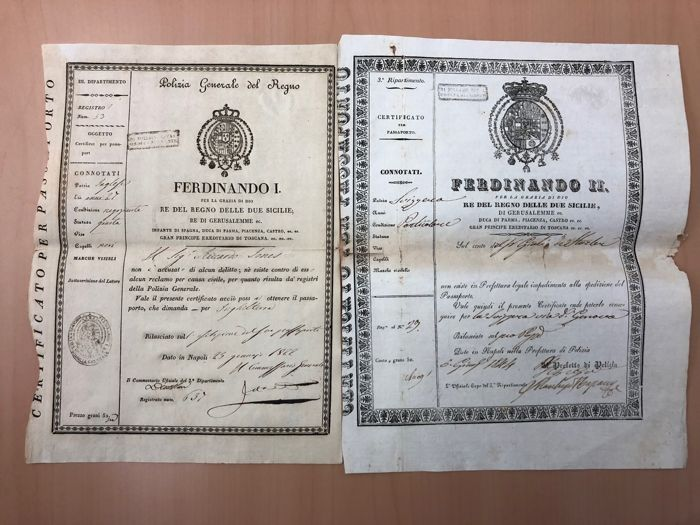 Italië - Passaporti Regno due Sicilie - Document - 1844