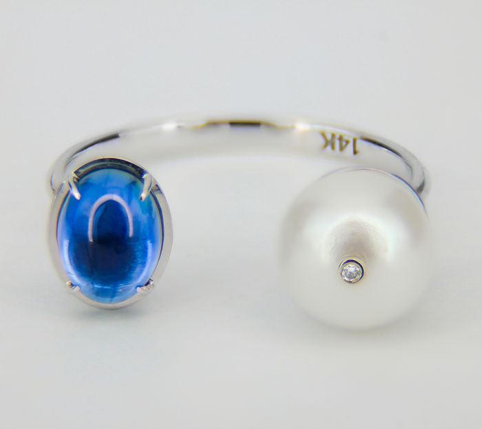 14 kt. White gold - Ring - 1.51 ct Sapphire - Diamond, Pearl