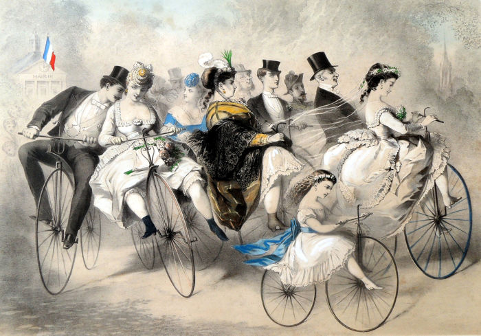 Caricatural litho - wedding party on the bike with NAPOLEON III among others - Paper - ca. 1865