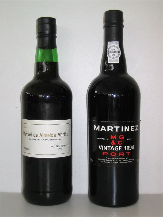 Mixed lot -  1977 Manuel De Almeida Martha Garrafeira Particular & 1994 Martinez Vintage Port - 2 Bottles (0.75L)