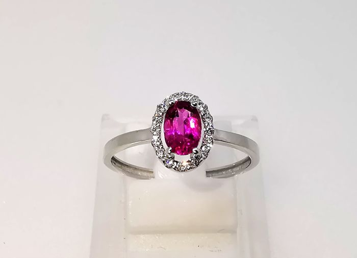 18 karaat Witgoud - Ring - 0.52 ct Toermalijn - Diamanten