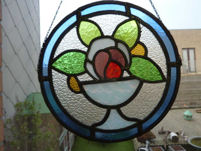 Art Deco Style basket with flowers (2) - Art Deco - Glas-in-lood