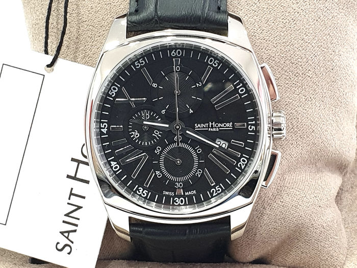 "Saint Honorè - "" NO RESERVE PRICE "" Lutecia Chrono - Black Dial - Genuine Leather  - 8570171NRAN - Swiss Made - Heren - 2011-heden"
