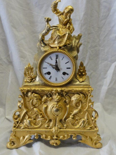 Franse pendule - Bronze (gilt/silvered/patinated/cold painted) - Second half 19th century