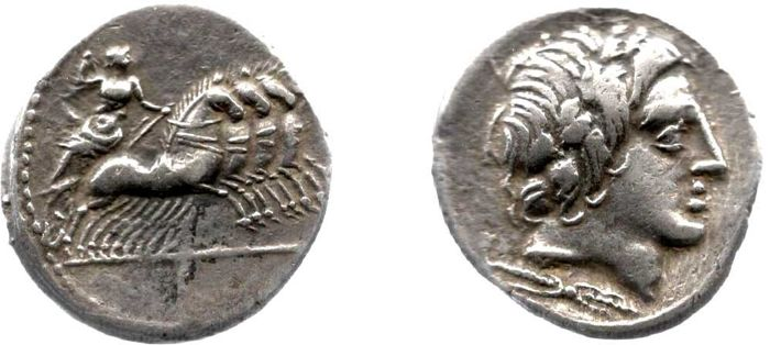 Romeinse Republiek - Anonymous, AR Denarius (86 B.C.) - Jupiter in quadriga right - Zilver
