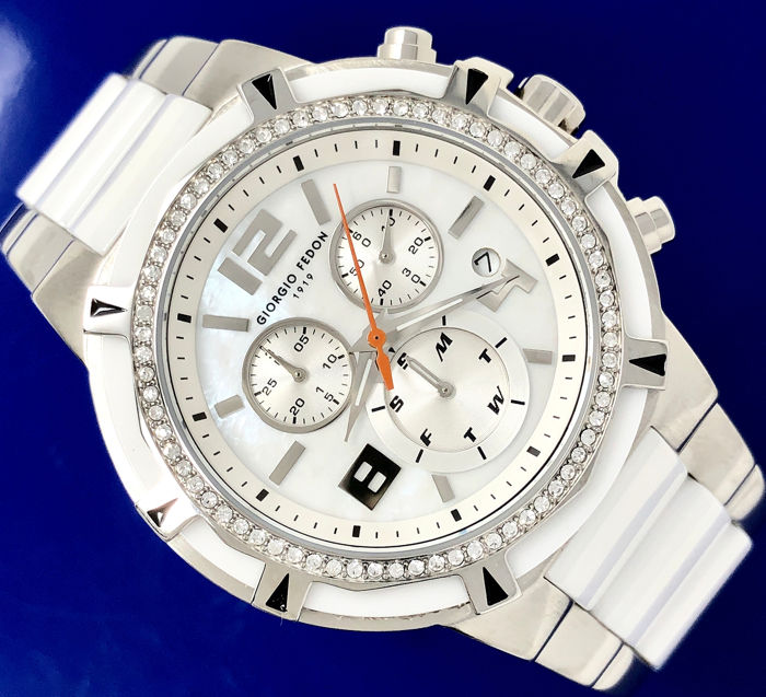 "Giorgio Fedon 1919 - Chronograph White Ceramic Mother of Pearl Dial Swarovski Crystals  - GFAM001 ""NO RESERVE PRICE"" - Senhora - Brand New"