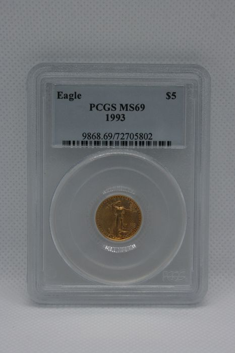 United States - 5 Dollar 1993 Gold Eagle in PCGS Slab - Gold