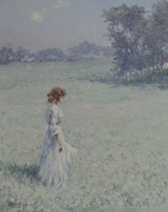 "Chris van Dijk -  """"Lady in a white dress in a field """""