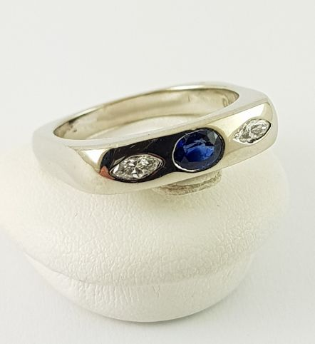 18 kt. White gold - Ring - 0.20 ct Sapphire - Diamond