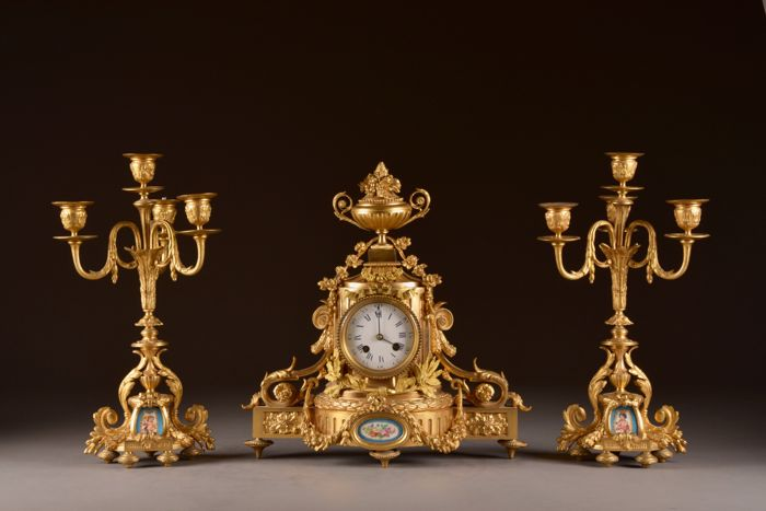 Klokkenstel - Japy Freres `& Cie  - Bronze (gilt/silvered/patinated/cold painted), Porcelain - mid 19th century