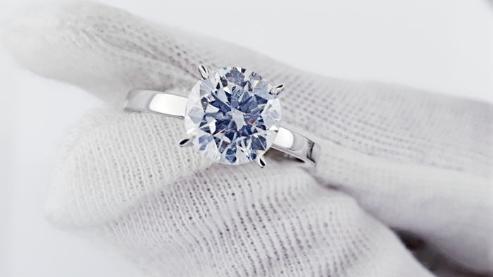 Used, 14 kt. White gold - Ring - Clarity enhanced 2.02 ct Diamond - D/VS1 Jewellery Enhanced for sale