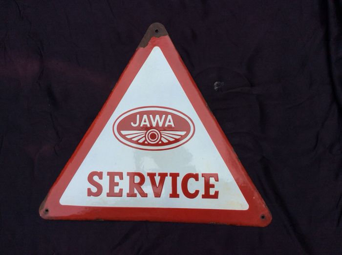 Emaille reclamebord, JAWA - 1965
